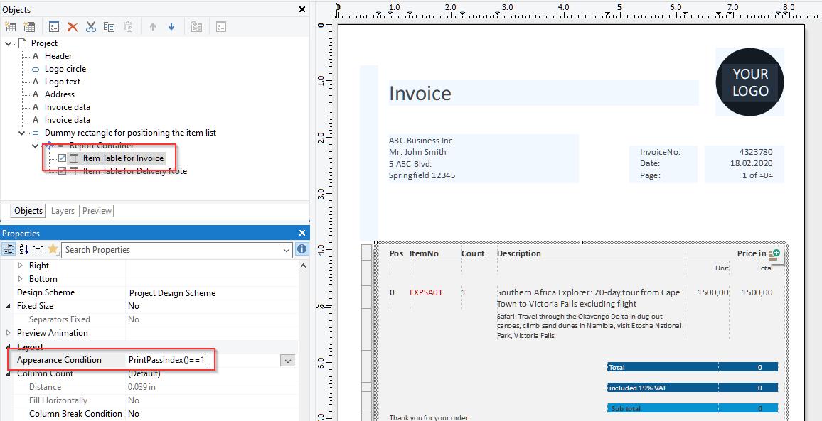 Invoice Item List