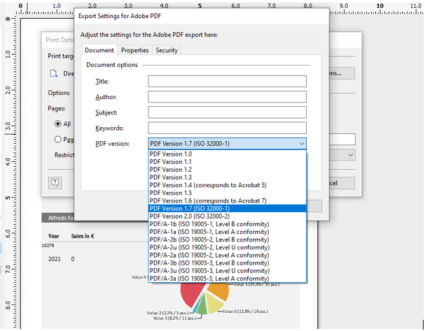 PDF Export Options