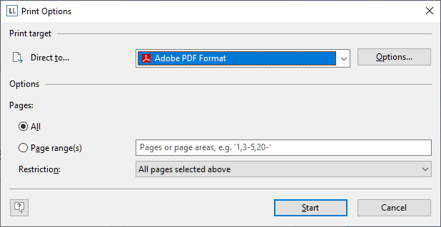 Print Option Dialog LL 26