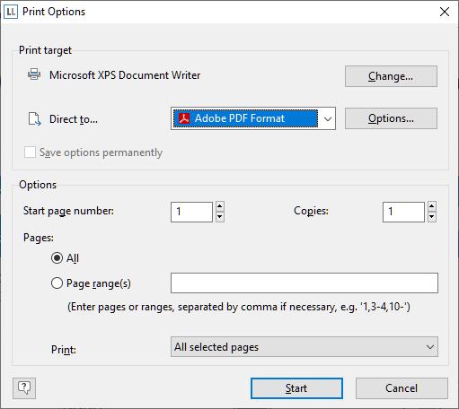 Print Option Dialog LL 25