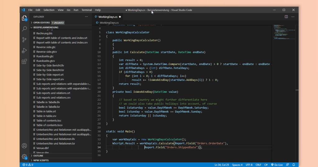 List & Label supports C# Script